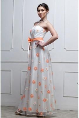 Довга ошатна cукня з квітами помаранчева
