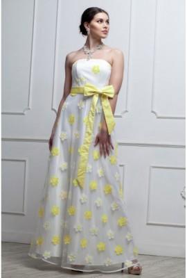 Довга ошатна cукня з квітами жовта