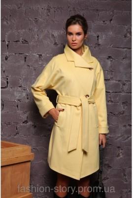 Стильне жіноче пальто Raslov (арт.208) лимон