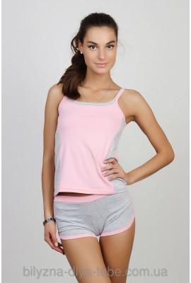 Піжама Майка+Шорти 0038/39 «рожевий+сірий меланж»