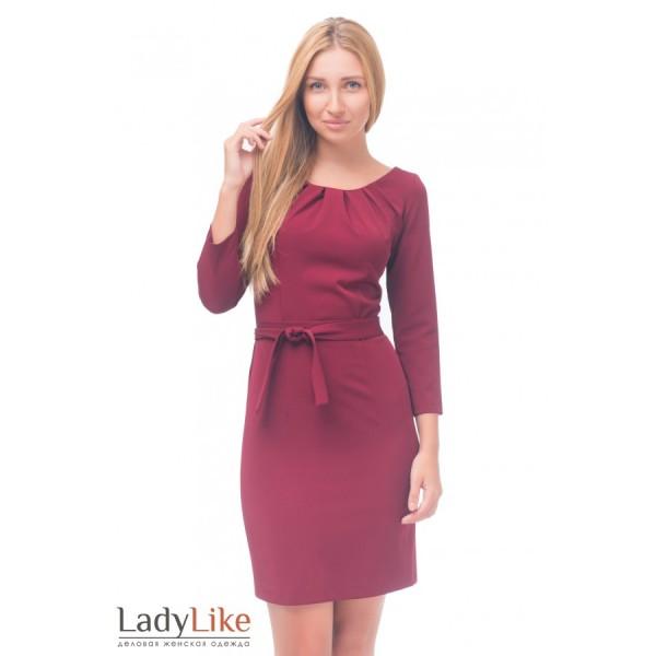 Сукня бордова із защипами на горловині