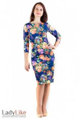 Сукня трикотажна синє в квіти