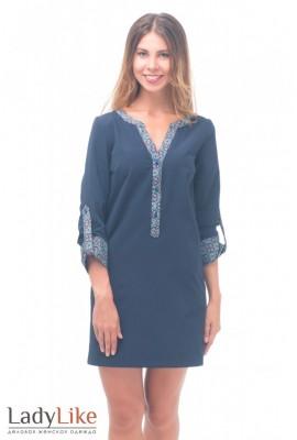 Сукня синя з кольоровою планкою