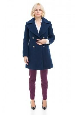 Пальто двобортне синє