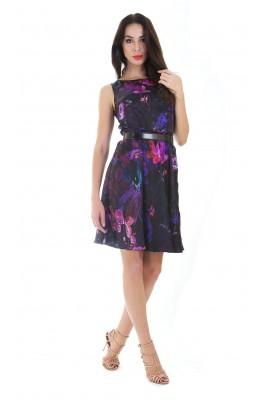 Сукня шовкова міді чорна з бузковим принтом 1412-044-3 с