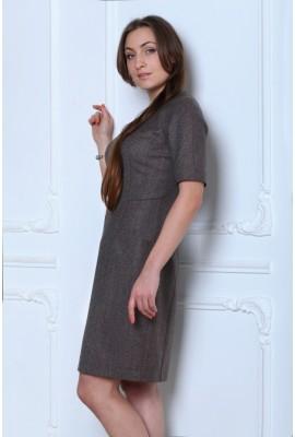 Сукня з прямокутним вирізом та кишенями сіра 1410-035-1