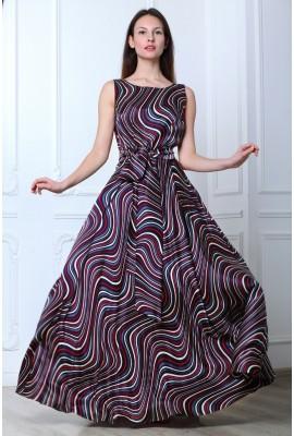 Сукня шовкова в підлогу звивисті лінії 1412-044-2