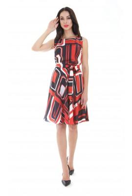 Сукня шовкова міді прямокутний візерунок 1412-044-1к