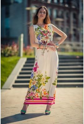 Трикотажна сукня в підлогу яскраві квіти 1404-014