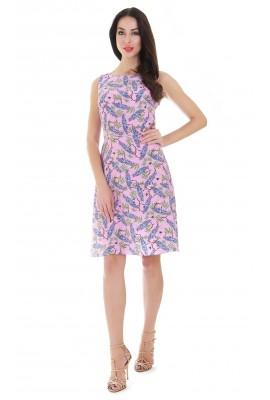 Сукня шовкова міді рожева принт акація 1412-044-6