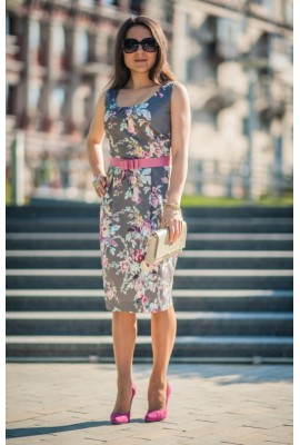 Сукня жаккардова сіра 1404-013