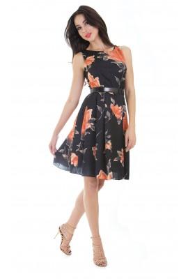 Сукня шовкова міді чорна принт троянди 1412-044-4ч