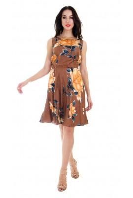 Сукня шовкова міді коричнева принт троянди 1412-044-3 к
