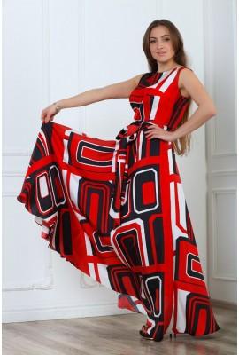 Сукня шовкова в підлогу прямокутний візерунок 1412-044-1