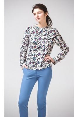 Блуза з круглим коміром, принт