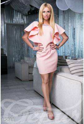 Сукня з воланами міні персикова