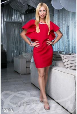 Сукня з воланами міні червона