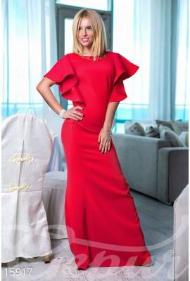 Сукня з воланами червона