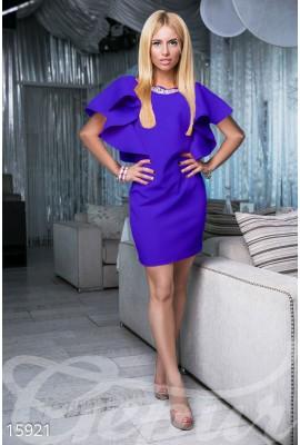 Сукня з воланами міні фіолетова