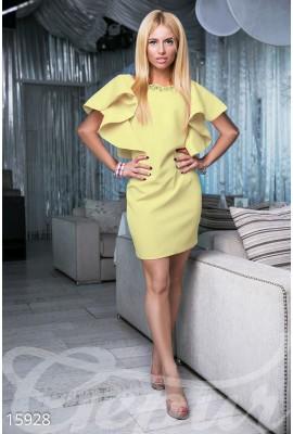 Сукня з воланами міні жовта