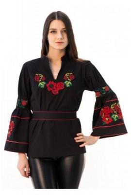 """Блуза """"Троянди рожеві"""" чорного кольору"""