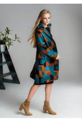 Вовняне пальто зі знімним поясом Patchwork