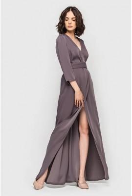 Сукня максі на запах костюмка перламутрово-ожинова