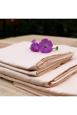 Комплект натуральної постільної білизни персикового кольору