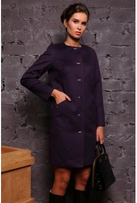 Пальто демісезонне з кашеміру фіолетове